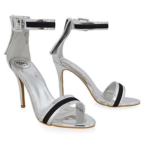 1b67c45f04775c ... ESSEX GLAM Damen Sandaletten mit Hohem Stiletto Absatz Fesselriemen  Peep Toe Schnalle Abendschuhe Silber Metallisch ...