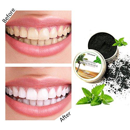 Polvo blanqueador de dientes,Blanqueador Dental de Carbón Activado Blanqueamiento de dientes,Carbón Activado Dientes Polvo de Dientes Contra Mal Aliento,Mancha