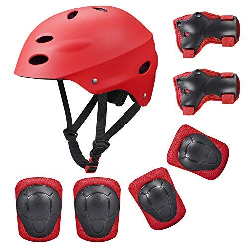 SKL Kinder Sport-Schutzausrüstung 7PCS Knieschoner Ellenbogenschoner Handgelenkschutz Helm Schutzset Skateboard Rollerblades Radfahren Reiten Radfahren Fahrrad und Outdoor-Aktivitäten