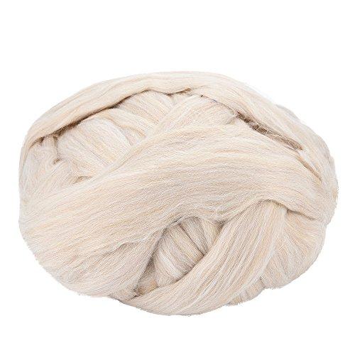 Handstrickgarn Häkelgarn ,COLORFUL Super-Chunky Garn weicher Wolle Sperrige Yarn Spinning Hand Knitting dickes Acrylgarn, Strickwolle für Strick- / Häkelarbeiten wie Pullover / Schals / Decken ,Wolle Garn Super Soft Sperrige Armstricken Wolle Roving Croching DIY (Beige) (Klobige Baumwoll-pullover)