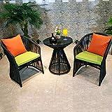 Freizeitstuhl,SEEKSUNGM Tisch und Stuhl-Set, handgemachte PE Rattan Tisch und Stuhl, kreative Runde Couchtisch, geeignet für Zuhause/im Freien/Balkon / Café, ein Tisch und zwei Stühle