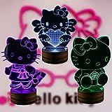 3D Illusions Lampe Nachtlicht LED Tischleuchte Schreibtisch Schlafzimmer Dekoration,16 Farben ändern Beleuchtung Fernbedienung Coole Geschenke Ideen für Kinder Geburtstag Weihnachten (Hellokitty),B