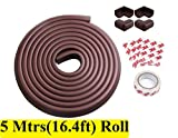 #6: LifeKrafts 5 Meters (16.4Feet) Thick Rubber Cushion + 4 Corner Cushions | Table Edges Guard for Baby , toddler , Child Safety | Edge Protector | Table Corner Cushions | Baby Proofing | Child Safety Furniture Bumper