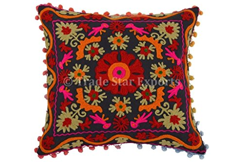 trade-star-suzani-pillow-cover-16x16-decorative-indian-cushions-pom-pom-pillow-cases-cotton-outdoor-