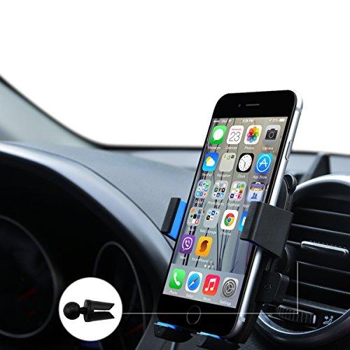 URNICE Universale Supporto Auto Regolabile 360 Grado Auto Air Vent Telefono Titolare Auto Culla Mount Kit di Montaggio per iPhone 7 6S 6 SE Plus, Samsung Galaxy Nota/Edge, Smartphone e Dispositivo GPS (Blu)