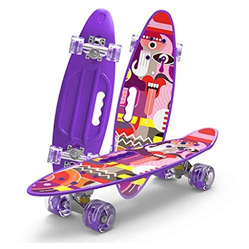Scooters liuwenan 4 Wheel Board Kind Erwachsene Universal Anfänger Jungen und Mädchen verwenden Straßenbürste Street Travel 61 Lila Skateboard (Color : Purple, Size : 61 * 18 * 10CM) (Trucks Wheels Penny Und)