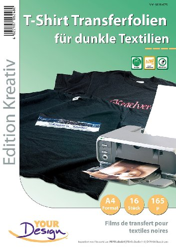 Your Design T Shirt Folie: 16 T-Shirt Transferfolien für bunte Textilien A4 Inkjet (Aufbügelfolie) (T-shirt Schwarzes Design)
