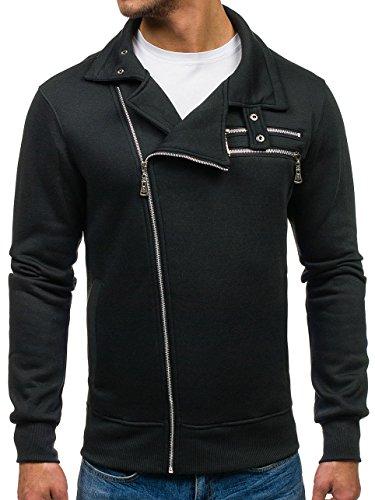 BOLF Herren Sweatshirt Sweatjacke Langarmshirt Stehkragen Zip 1A1 MIX Schwarz_BA002