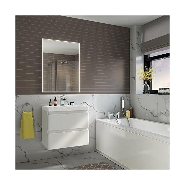 600 x 800 mm Designer Illuminated LED Bathroom Mirror Light Sensor +  Demister ML4002