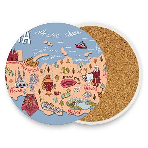 Untersetzer aus Keramik, rund, saugfähig, Motiv: Landkarte der Russischen Landkarte, keramik, multi, 2er-Set