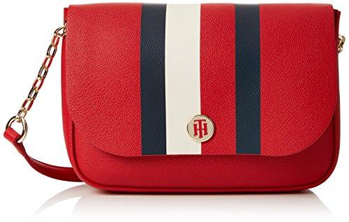 (Tommy Hilfiger Damen My Crossover Umhängetasche, Rot (Red/Core Stripe), 6.5x16x22 cm)