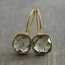 Gr/üne Amethyst Prasiolite Tropfenform vergoldet Sterling Silber Ohrringe Ohrhaken