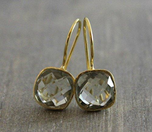 Kissenschliff grüne Amethyst Prasiolite Gold plattiert 925 Sterling Silber Ohrhaken Ohrringe