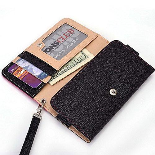 Kroo Pochette Téléphone universel Femme Portefeuille en cuir PU avec dragonne compatible avec LG Logos/V 2 noir - noir Multicolore - Magenta and Black