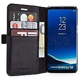 WIIUKA Echt Ledertasche - TRAVEL Away - für Samsung Galaxy S8 mit Vier Kartenfächern, extra Dünn, Tasche Schwarz, Premium Design, Leder Hülle kompatibel für Samsung Galaxy S8