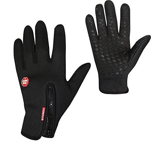 Skitic Unisex Handschuhe Sport Damen Herren Fahrradhandschuhe Vollfinger Herbst Winter Wärmer Anti-Rutsch Touchscreen Gloves für Outdoor Sport Fahren Klettern Skifahren Radfahren Bike (S, Schwarz)