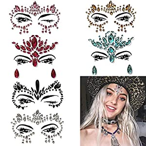 Face Gems - 6 Set Women Mermaid Rave Festival Glitter, Rhinestone Temporary Tattoo Face Jewels Crystals Face Stickers Eyebrow Face Body Jewelry (Color6)