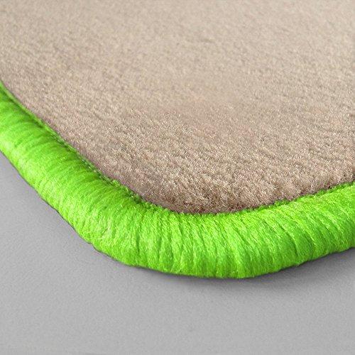 Preisvergleich Produktbild (Randfarbe nach Wahl) Passgenaue Fußmatten aus beigem Velours (Q308) mit kawagrünem Rand (507)
