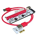 XT-xinte PCI-E Express 1 X auf 3 Port Riser Karte Mini ITX zu externen 3 PCI-E Slot Adapter PCIe Port PCIe Express Card Multiplier Rot Red Cable