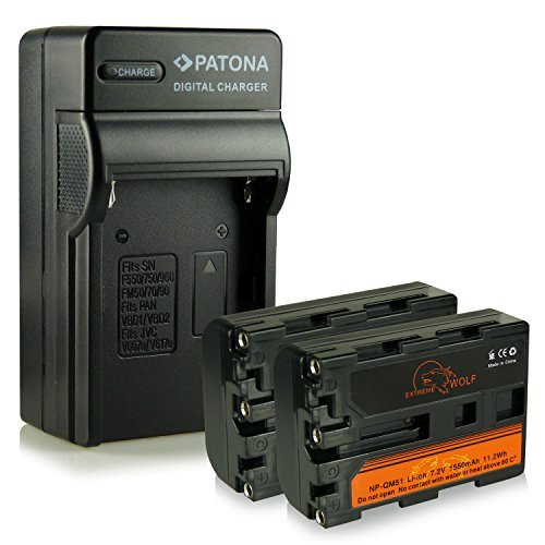 Bundle - Charger + 2x Battery NP-FM50 / NP-FM55H / NP-QM51 with Infochip 100% compatible with Sony Cybershot DSC-F707 | DSC-F717 | DSC-F828 DSC-S30 | DSC-S50 | DSC-S70 | DSC-S75 | DSC-S85 | DSLR-A100 (?100) | MVC-CD200/ MVC-CD250/ MVC-CD300/ MVC-CD350/ MVC-CD400 | MVC-CD500