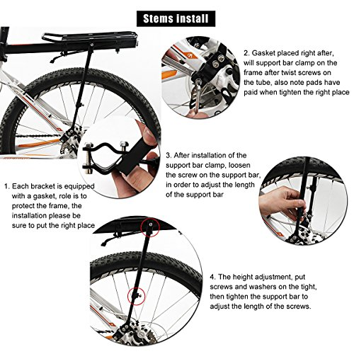 Aluminium Rear Bicycle Pannier Bag Cargo Rack, Fozela Bike