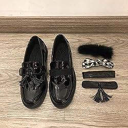 DuHLi Zapatos de Uniforme Escolar japonés Zapatos de Cosplay de Cuero de PU Zapatos de Estudiantes de Lolita Zapatos Diarios de Velcro,40