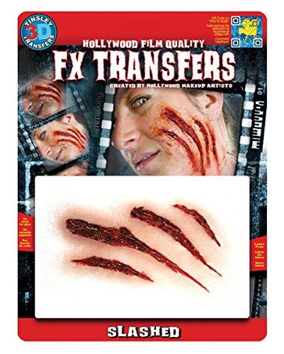 3D FX Transfer Krallen Kratz Wunden Tattoo mit realistischem Spezial (Werwolf Halloween Up Make)