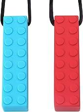 Sensory Chew Halskette von TYRY.HU Set Lego Beißring Silikon Kauen Anhänger Perfekt für Autismus ADHS SPD Oral Motor Zahnen & Beißen braucht 2 Packs Tough und langlebig