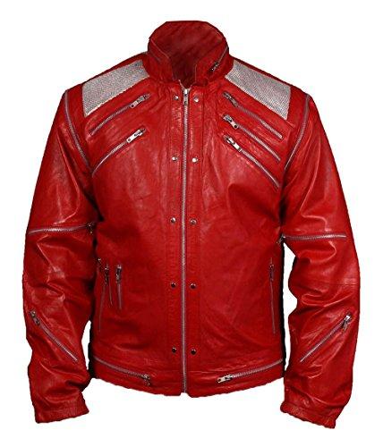 De HLS Hommes Michael Jackson Beat It Red Faux Leather Jacket (SMALL)