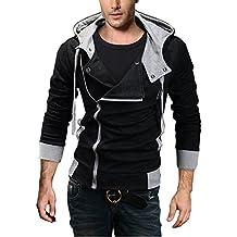 DJT Hombres Slim Fit Jacket Chaqueta Abrigo Gabardina Trenca con Capucha