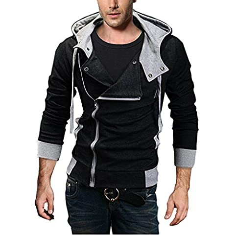DJT Herren Slim Fit Hoodie Kapuzenpullover Sweatshirt Jacke Pullover Schraegzip Cosplay Kostuem Schwarz Gr.L