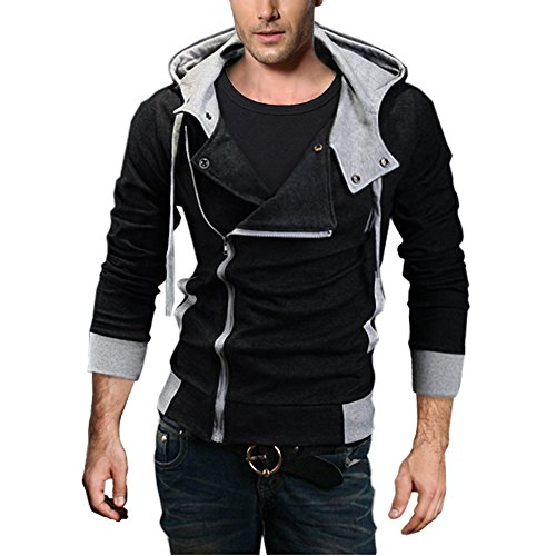 DJT Herren Slim Fit Hoodie Kapuzenpullover Sweatshirt Jacke Pullover Schraegzip Cosplay Kostuem Schwarz Gr.S