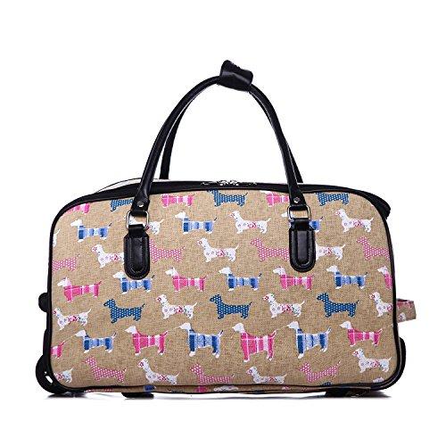 LeahWard® Mittlere Größe Reisetasche Handgepäck Wagen Wochenendeleicht zu  EndeAusgehabend Tasche mit Rads KHAKI SCOTTIE DOG