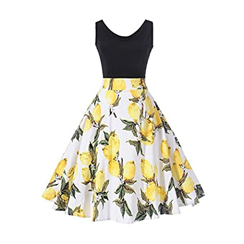 GooYoo Women's 1950's Vintage Nature Patch Floral Printing Boat-Neck Fit and Flare Sleeveless Knee-Long Cocktail Evening Party