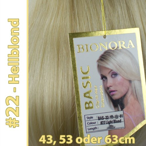 Clip-in Haar Extensions mit Echthaar, #22, Hellblond, in 40cm, 50cm od. 60cm (+), BASIC von BIONORA, Haarverlängerung