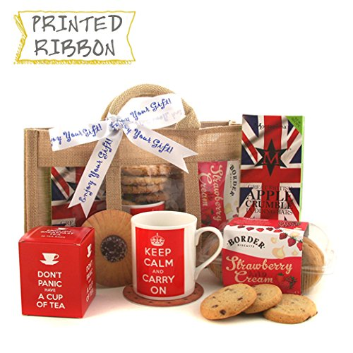 Tea and Biscuits Gift Hamper - Keep Calm and Drink Tea Gift Set - Ideal Gift for Get Well House Warming - Available for Next Day Delivery with Selection of Tea and Biscuits