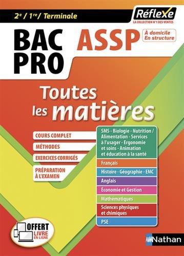 Toutes les matières Bac Pro ASSP Accompagnement Soins et Services à la Personne 2nd 1re Tle