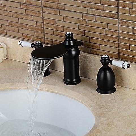 BSFCJ Rubinetto,Olio di separazione due maniglia rub bronzo bagno lavabo Miscelatore-nero - Nero Rub