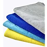 Glitz Premium Microfiber Cleaning Cloth – 380 GSM – Professional Series Multicolor Cleaning Towels for Automobile detailing, Interior, Chrome, Kitchen, Bathrooms, TV, Glass, Furniture, all household purpose – Ultra Soft, Ultra-Thick, Non Scratching, Highly Absorbent, Lint-Free, Streak-Free, for Tackling Any Cleaning Job with Ease – High Quality Results (40 x 40 cm) (Pack of 4)