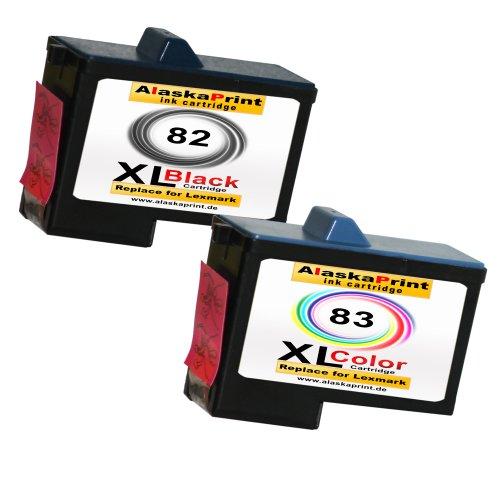 Premium 2er Set Kompatible Druckerpatronen Als Ersatz für Lexmark 82 XL + 83 XL für Lexmark X5100 X5130 X5150 X6100 X6150 X6170 Z55 Z65 Z56 X6190 X5200 X5190 X5170 Z65p Patronen 82+83-lex Lexmark Tintenpatronen X6170