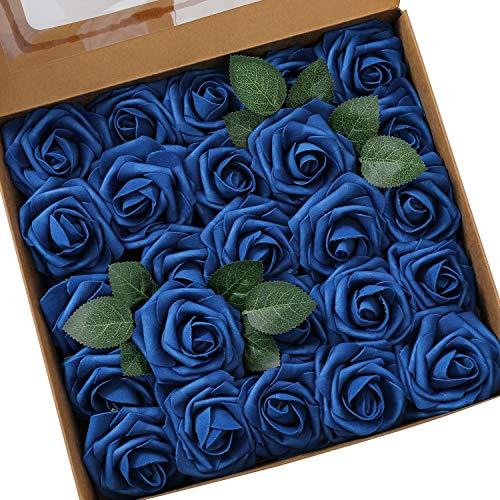 Ksnrang Künstliche Rosen Blumen Schaumrosen Foamrosen Kunstblumen Rosenköpfe Gefälschte Kunstrose Rose DIY Hochzeit Blumensträuße Braut Zuhause Dekoration (25 Stück, Königsblau)