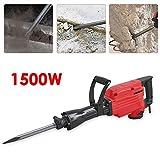 1500W Abbruchhammer incl. Zubehör Meisselhammer Meißelhammer Stemmhammer Rot 360 Grad schwenkbarer Seitengriff