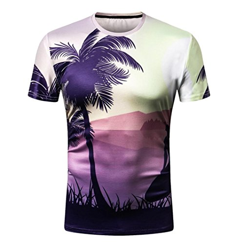 KPILP HerrenBeachwear Summer Slim Short 3D Printing Shirt Top Holiday Favourites(B-Multicoloured,Small) (Knit Tank Cable)