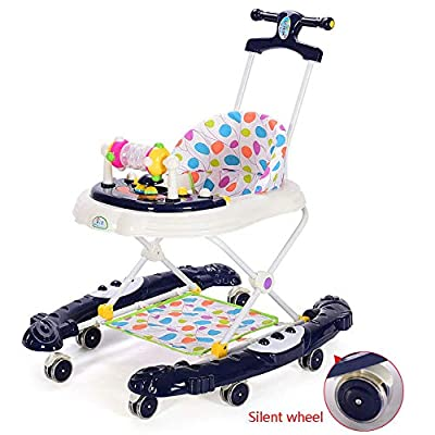 Baby Walker 2 In 1 Multi-function Anti-rollover Male Baby Girl Young Children Hand Push Can Sit Folded,Black