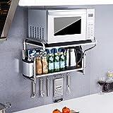 LXY Edelstahl Küchenregal Wandhalterung Mikrowelle Regal 2 Multifunktionale Würze Lagerung Ofen Rack Küchenregal