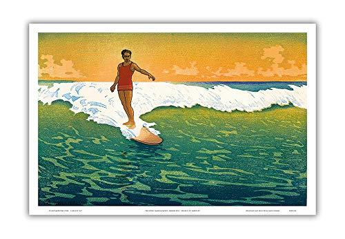 Pacifica Island Art The Duke Kahanamoku Surfen, Hawaii 1918-Vintage Farbigen Woodblock Print von Charles W. Bartlett c.1918-Hawaiian Master Kunstdruck 12