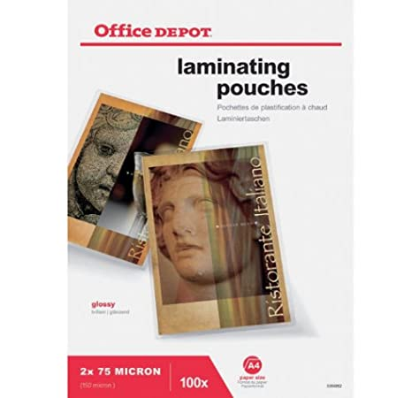 Office Depot A4 Laminating Pouches 150 Micron Pack 100 Laminator Sheets Amazon Co Uk Office Products