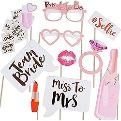 Pack de 10 'Team Bride' Photo Booth Props + 12 pcs Team Bride Tattoos Tatuajes Temporales Accesorios para Despedida de Soltera Decoracion Disfraces para Fiesta de Soltera