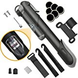 Picture Of Bike Pump, [120 PSI][Perfect Full Set]Diyife Mini Bicycle Pump, Ball Pump with Needle, Glueless Patch Kit, Cycle Valve Caps and Frame Mount for Road, Mountain & BMX Fits Presta & Schrader Valve