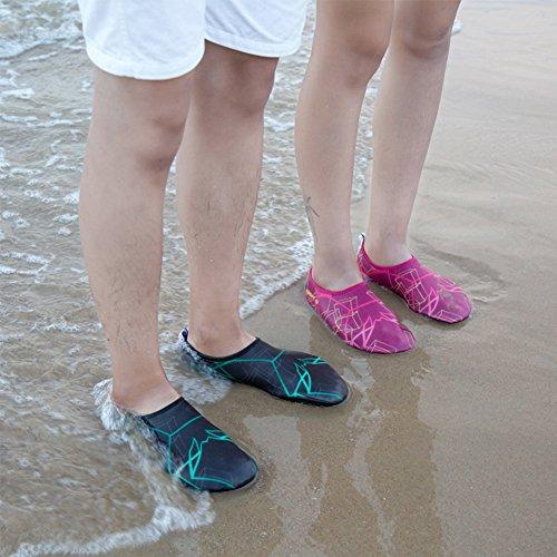SAGUARO® Damen Herren Badeschuhe Wasserschuhe Aquaschuhe Strandschuhe Schwimmschuhe Surfschuhe Schwarz